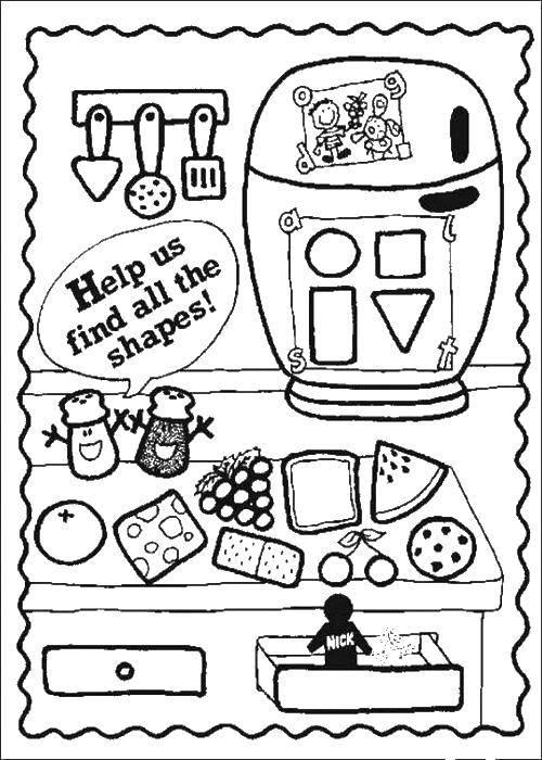 Раскраска Помоги собрать формы. Скачать формы, круг, квадрат, треугольник.  Распечатать ,раскраски найди предмет,