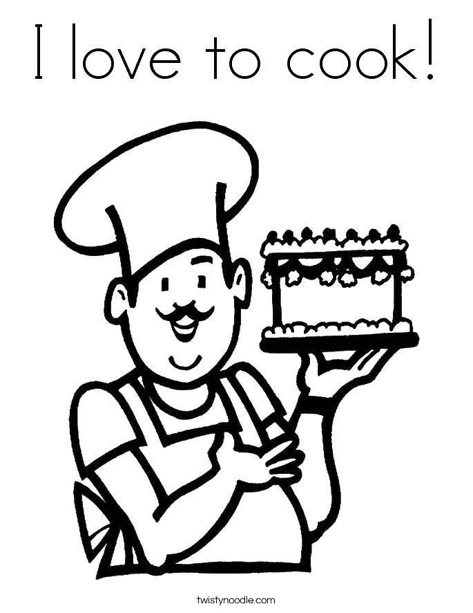 Раскраска Я люблю готовить Скачать я люблю готовить, повар.  Распечатать ,Готовим еду,
