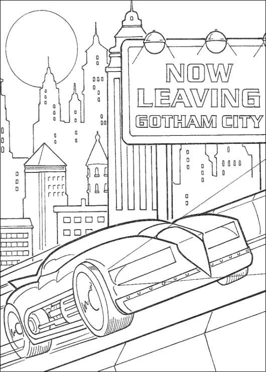 Раскраска Бэтмэн на своём автомобиле в готэме Скачать Комиксы, БэтМэн, автобобиль, Готэм.  Распечатать ,Комиксы,