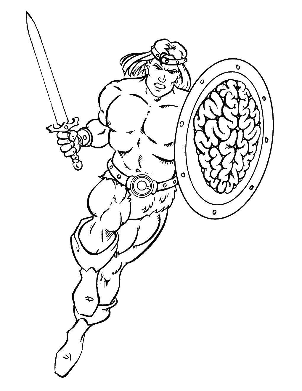 Раскраска Храбрый гладиатор бежит в бой Скачать Воин, гладиатор, меч, щит, бой.  Распечатать ,для мальчиков,