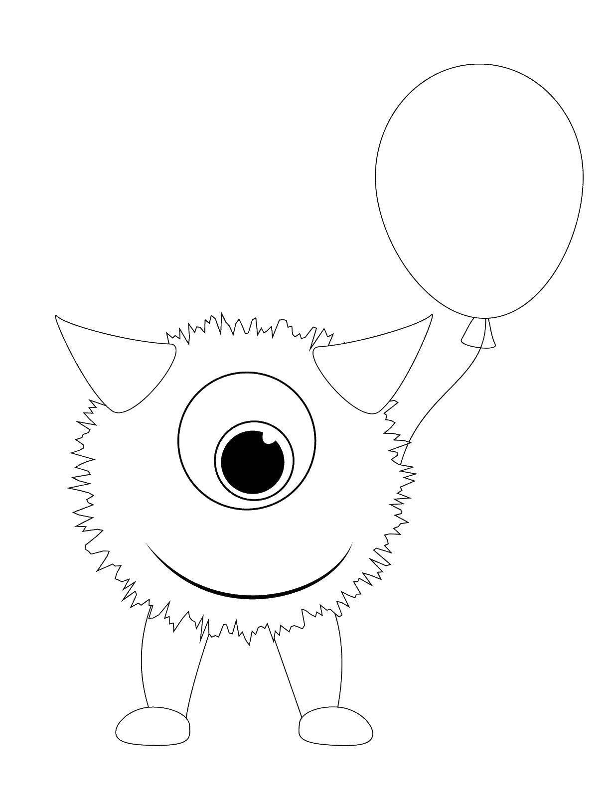 Раскраска Монстер с шариком Скачать монстер, шарики.  Распечатать ,Монстры,