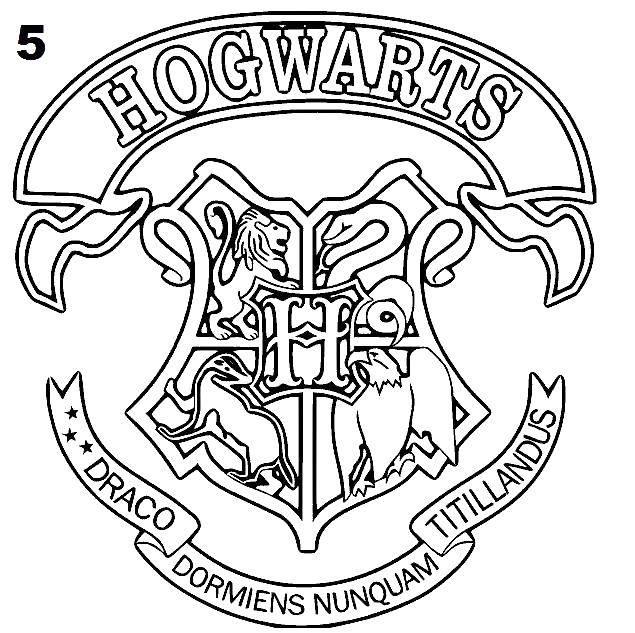 Раскраска Эмблема хогвартса Скачать Гарри Поттер, Хогвартс.  Распечатать ,Гарри Поттер,
