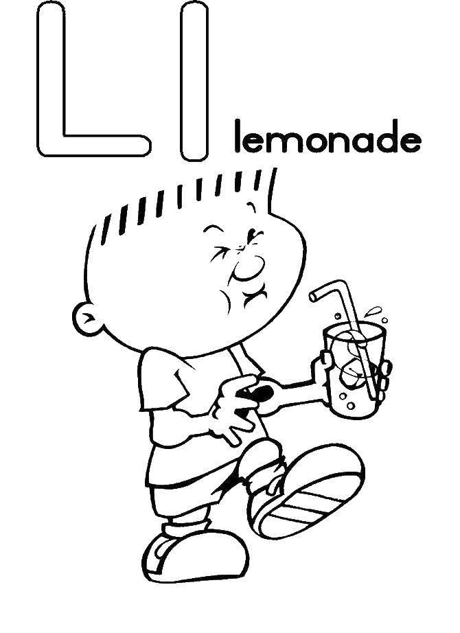 Раскраска Мальчик пьет лимонад Скачать алфавит, английский.  Распечатать ,Английский алфавит,