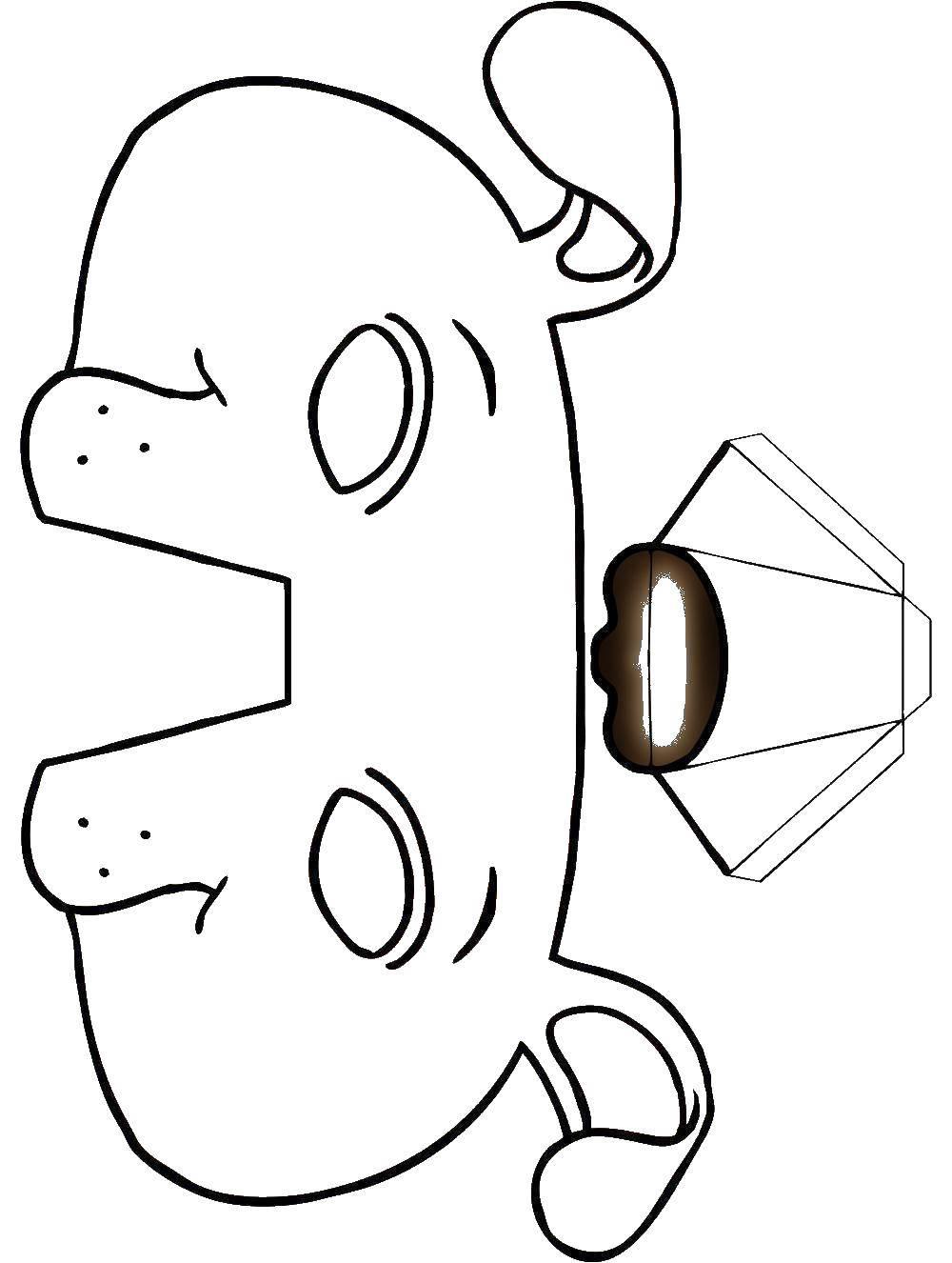 Раскраска Маска собаки Скачать ,маска, собака,.  Распечатать