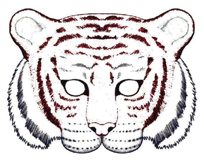 Раскраска Маска тигра Скачать ,Маска, Тигр,.  Распечатать