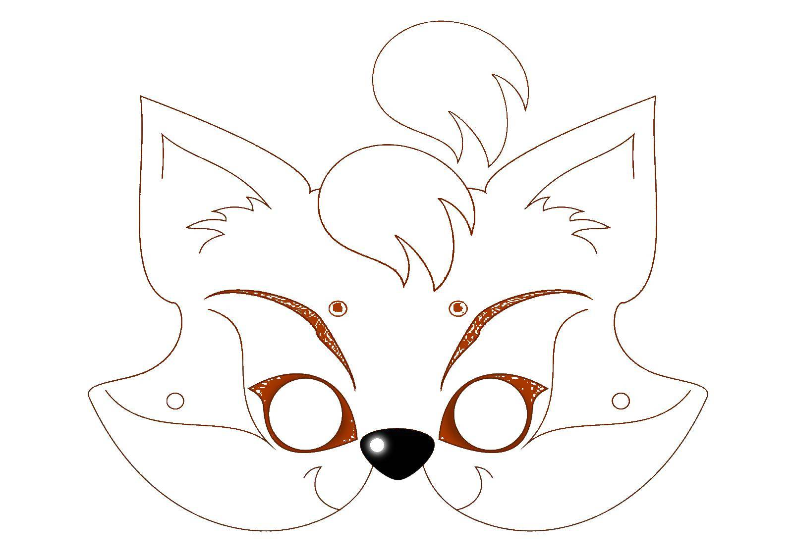 Раскраска Маска лисы Скачать маска, лиса.  Распечатать ,Маски,