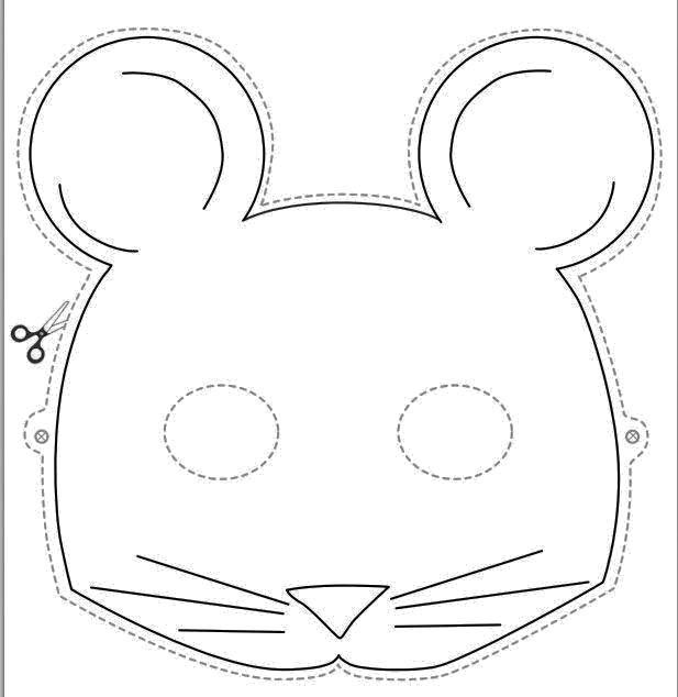 Раскраска Вырежи маску мышки Скачать Маскарад, маска.  Распечатать ,Маски,