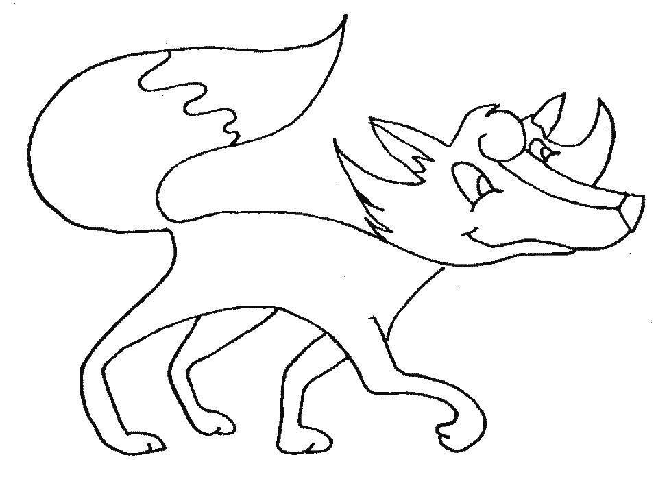 Раскраска Любопытная лисица Скачать Животные, лиса.  Распечатать ,Раскраски для малышей,