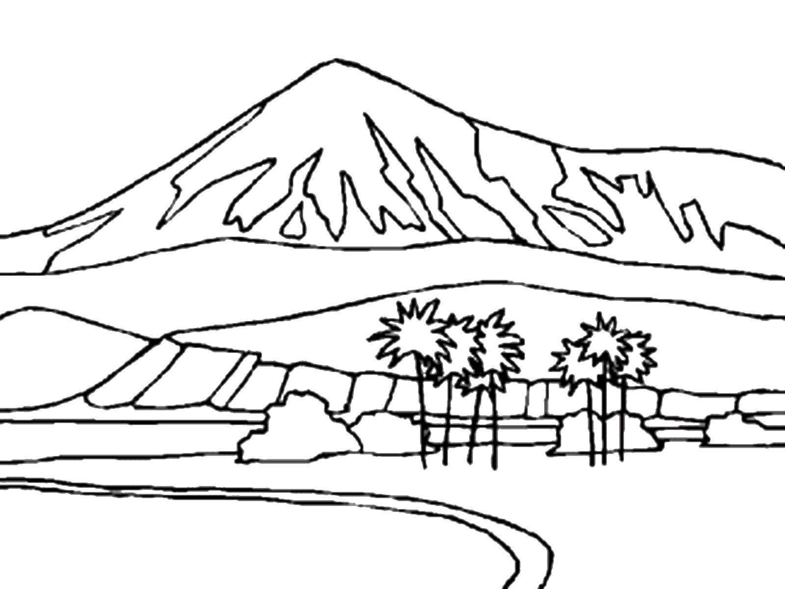 Раскраска Гора и пальмы Скачать ,горы,  пальмы,.  Распечатать