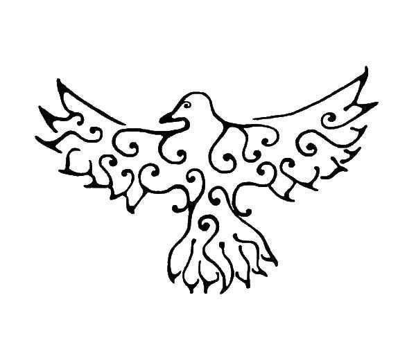 Название: Раскраска Ворона с узорами. Категория: Контуры для вырезания птиц. Теги: ворон.