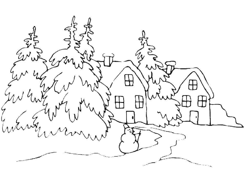 Раскраска Домики в зимнем лесу Скачать ,Природа, лес, зима,.  Распечатать