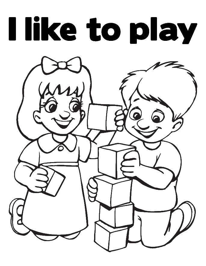 Раскраска Английские слова i like to play Скачать карточки, слова, дети, игра.  Распечатать ,Английский,