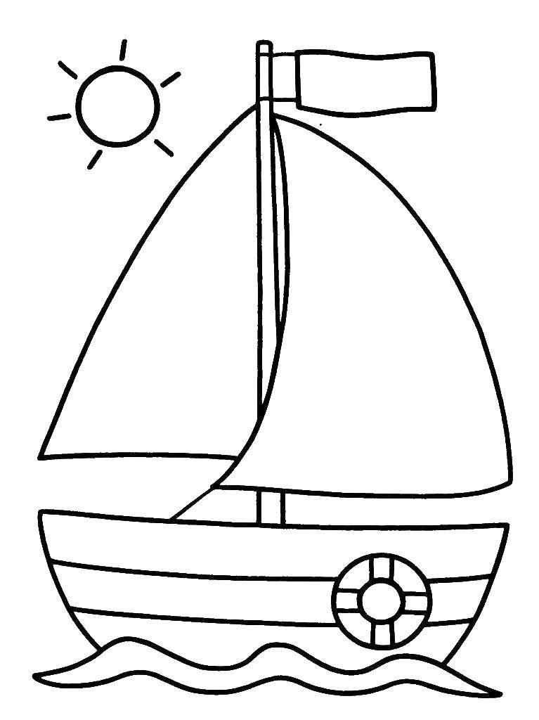 Раскраска Кораблик на воде Скачать Корабль, вода.  Распечатать ,Раскраски для малышей,