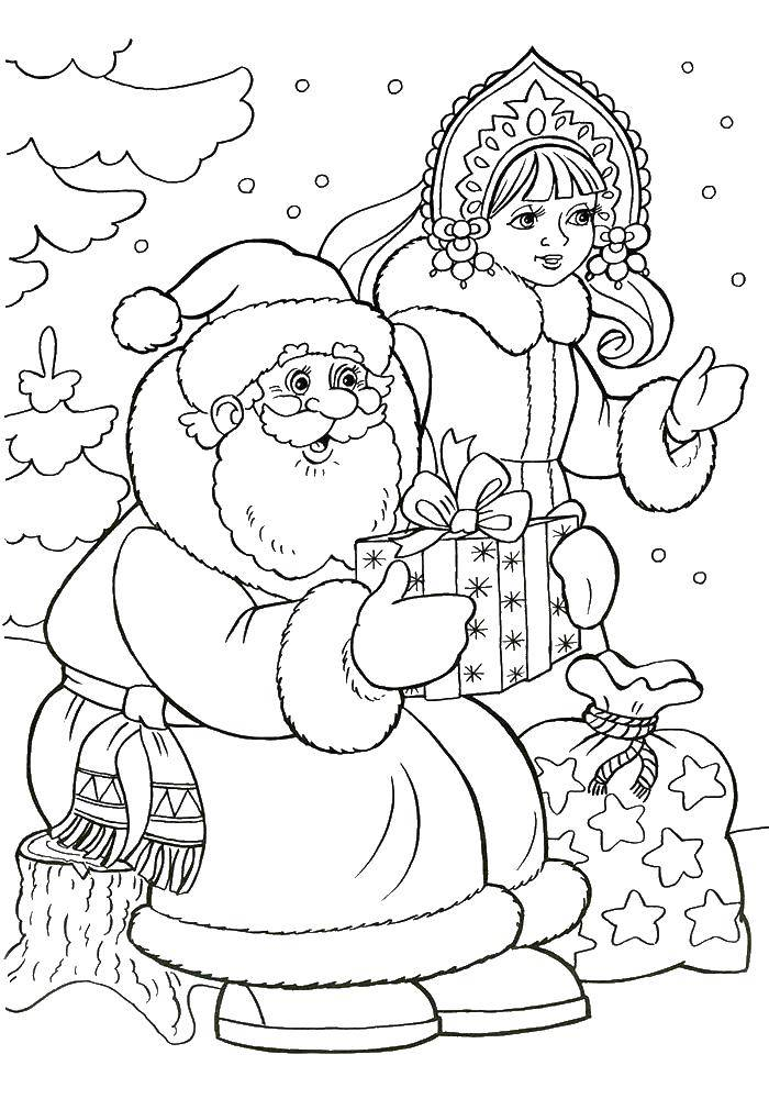 Раскраска Дед мороз и снегурочка дарят подарки Скачать дедмороз, снеговик, снегурочка.  Распечатать ,новый год,