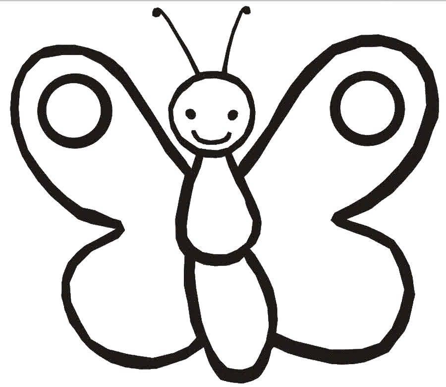 Раскраски малышей, Раскраска Бабочка Раскраски для малышей.