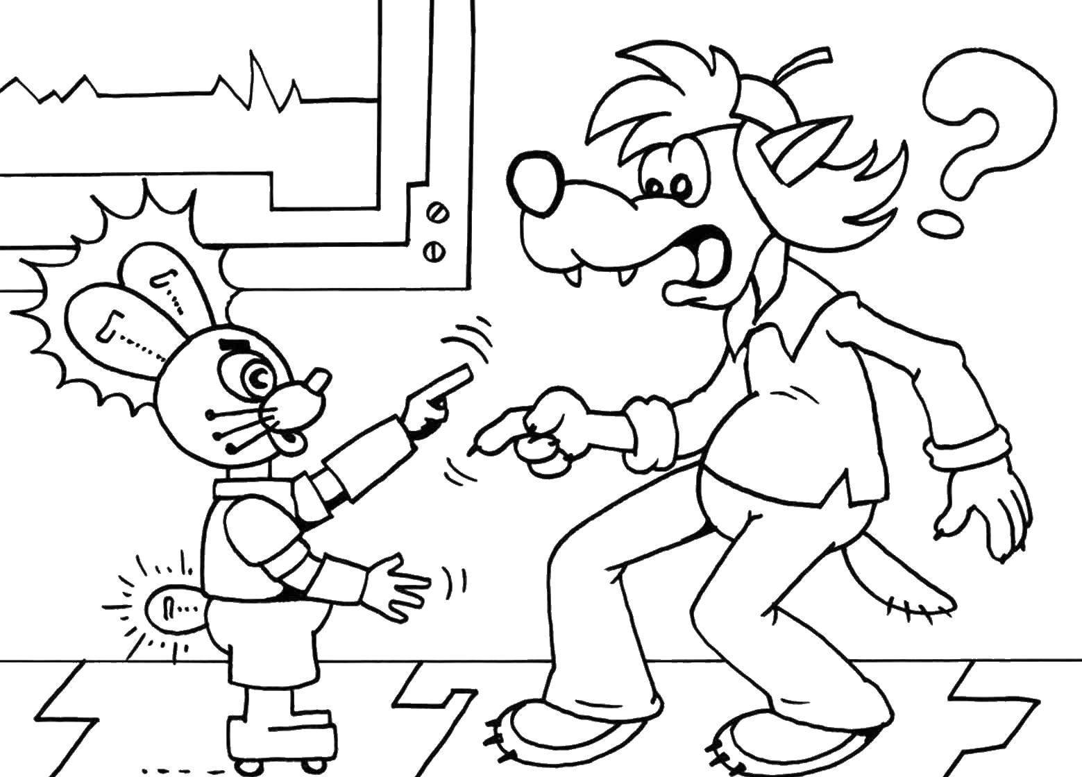 Раскраска Ну погоди заяц Скачать заяц, волк, мультик.  Распечатать ,мультики,