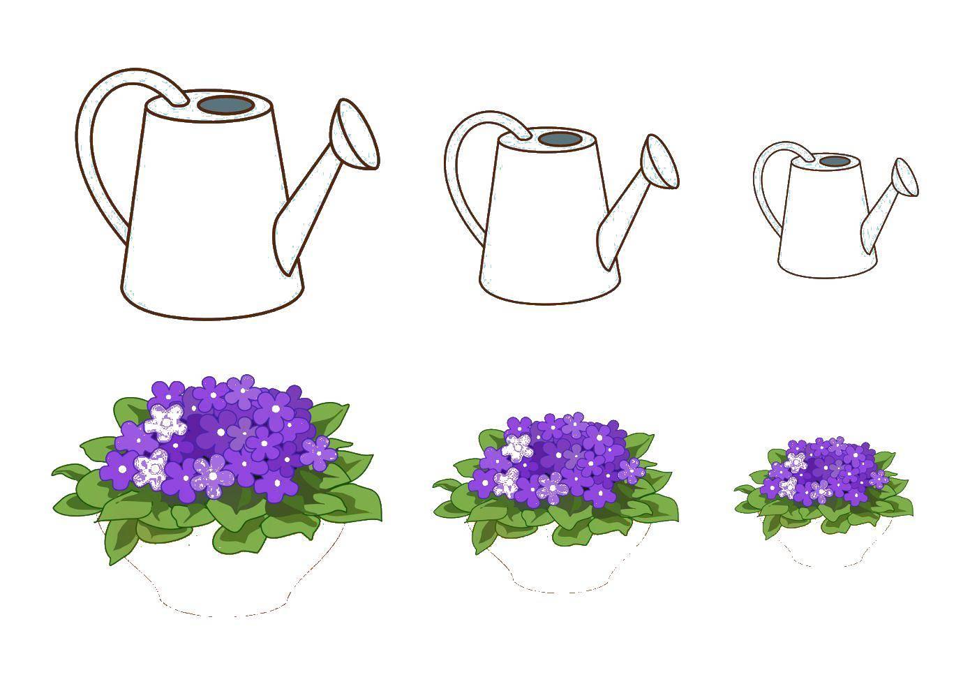 раскраски цветами раскраска лейка с цветами растения