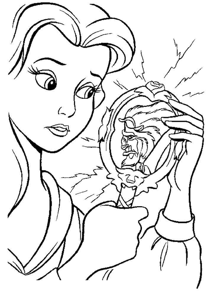 Раскраска Красавица белл и чудовище Скачать красавица, чудовище.  Распечатать ,мультики,