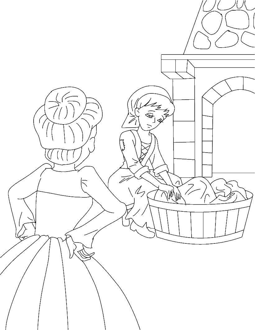 Раскраска Золушка стирает одежду Скачать Золушка.  Распечатать ,Сказки,