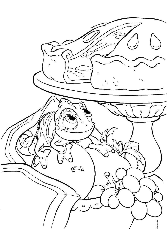 раскраски раскраска ящерица хочет пирог раскраски