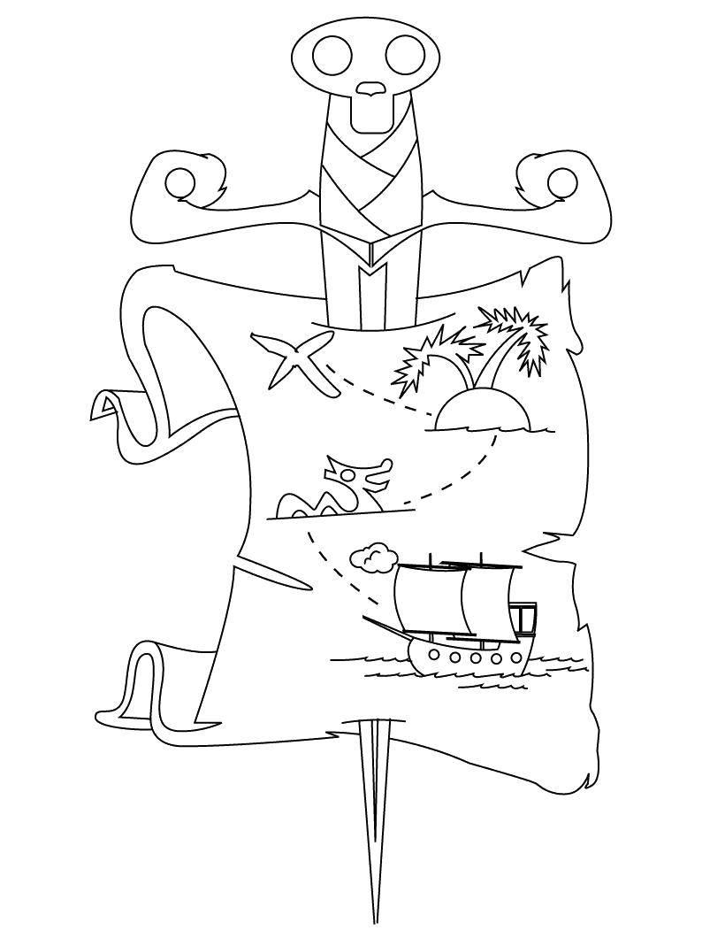 Раскраска Пиратская карта скоровищ Скачать Пират, остров, сокровища, карта.  Распечатать ,Пираты,