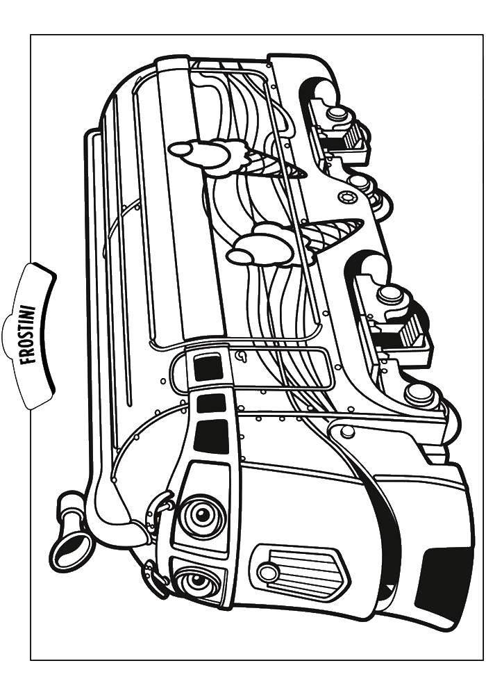Раскраска Чаггингтон веселый паровозик фростини Скачать паровоз, фростини.  Распечатать ,поезд,