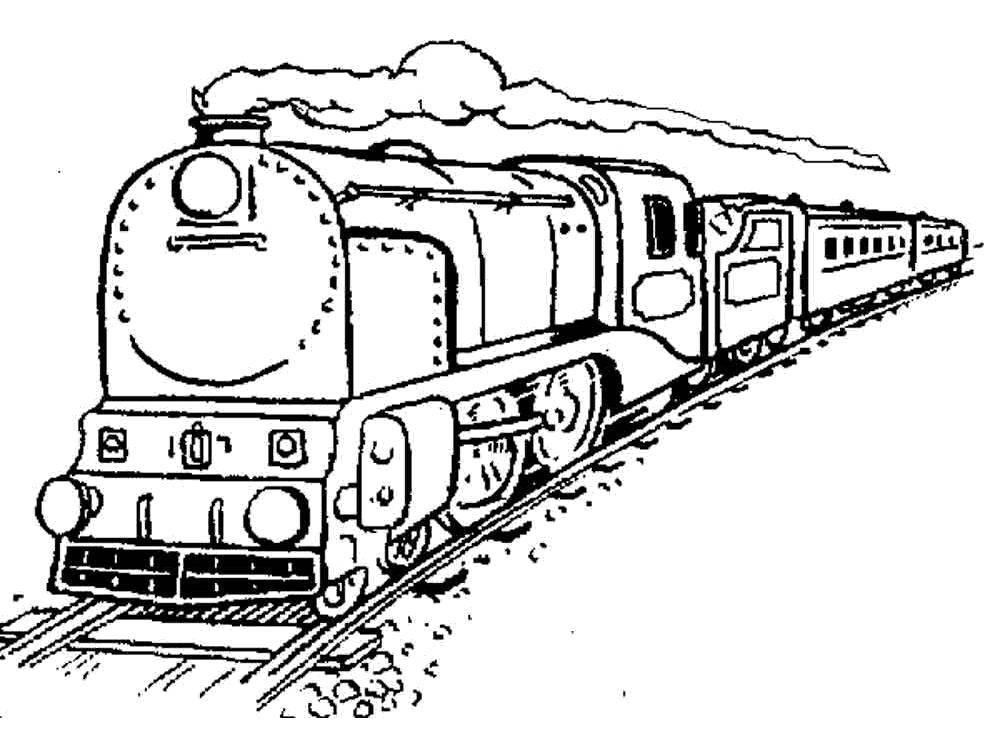 Раскраска Длинный поезд Скачать Поезд, рельсы.  Распечатать ,поезд,