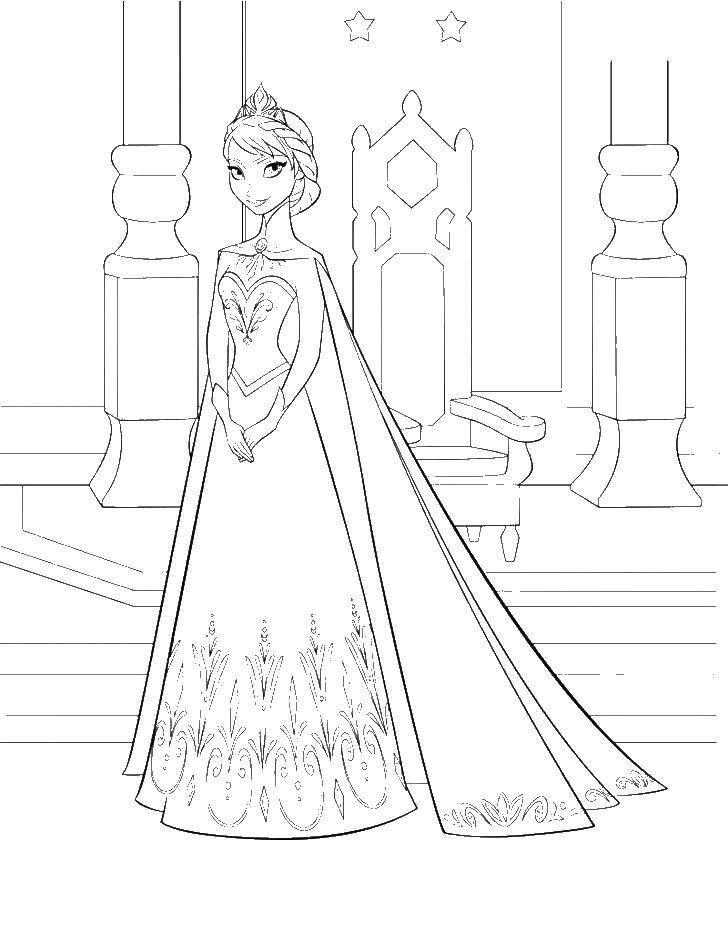 Раскраска Эльза из мультфильма холодное сердце Скачать ,Дисней, Эльза, Холодное сердце, принцесса,.  Распечатать