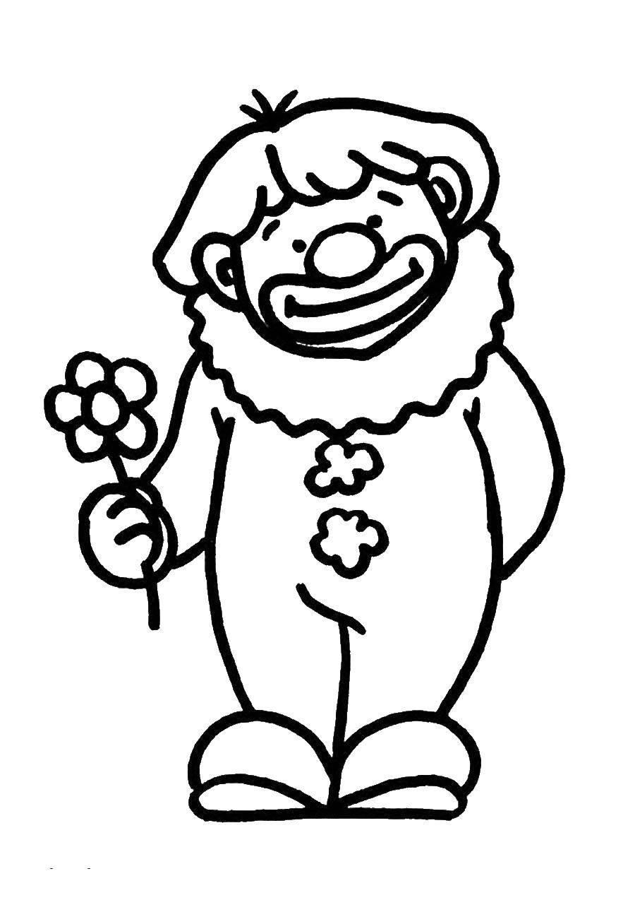 Раскраска Клоун с цветком Скачать Клоун.  Распечатать ,Клоуны,
