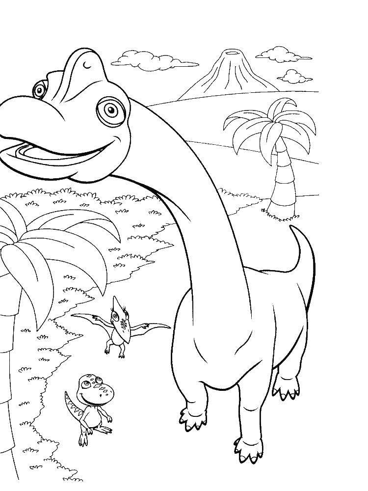 Раскраска Любопытные динозаврики Скачать Динозавры.  Распечатать ,динозавр,