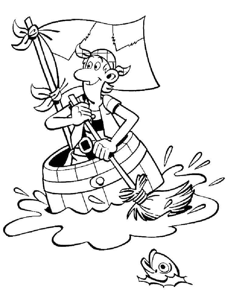 Раскраска Пират плывет в бочке Скачать Пират, море.  Распечатать ,Пираты,