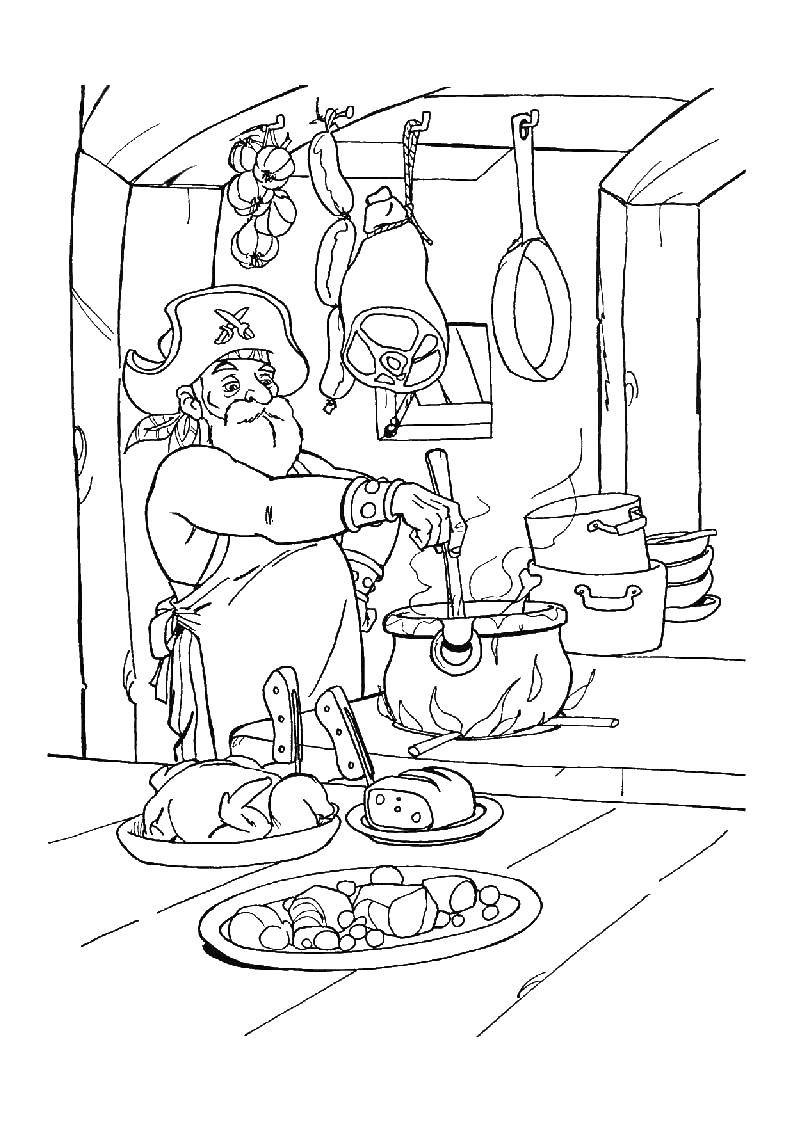 Раскраска Пиратский повар Скачать Пират, повар.  Распечатать ,Пираты,