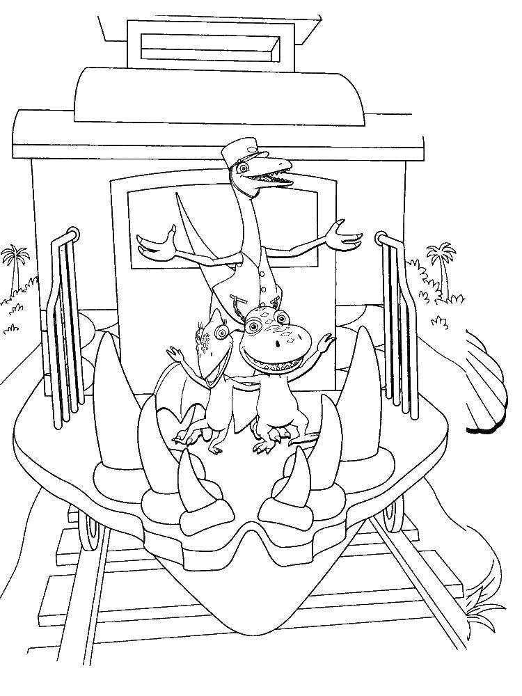 Раскраска Динозаврики на поезде Скачать Поезд, динозавры.  Распечатать ,поезд,
