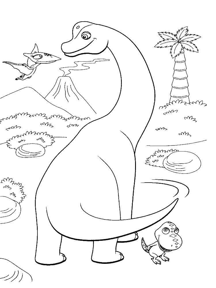 Раскраска Дружные динозаврики Скачать Динозавры, дружба.  Распечатать ,динозавр,