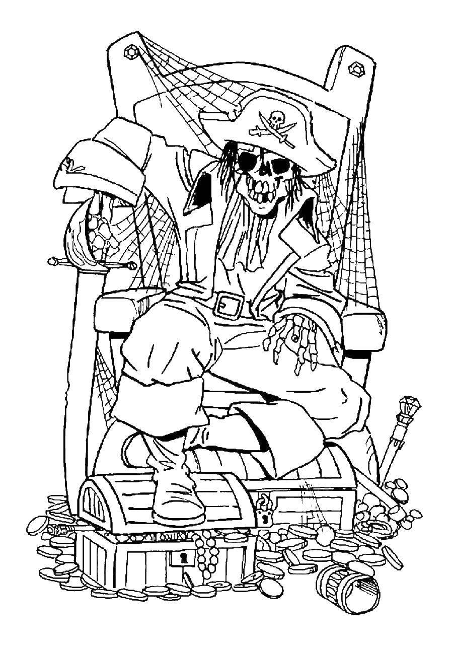 Раскраска Скелет пирата на его сокровищах Скачать Пират, остров, сокровища.  Распечатать ,Пираты,