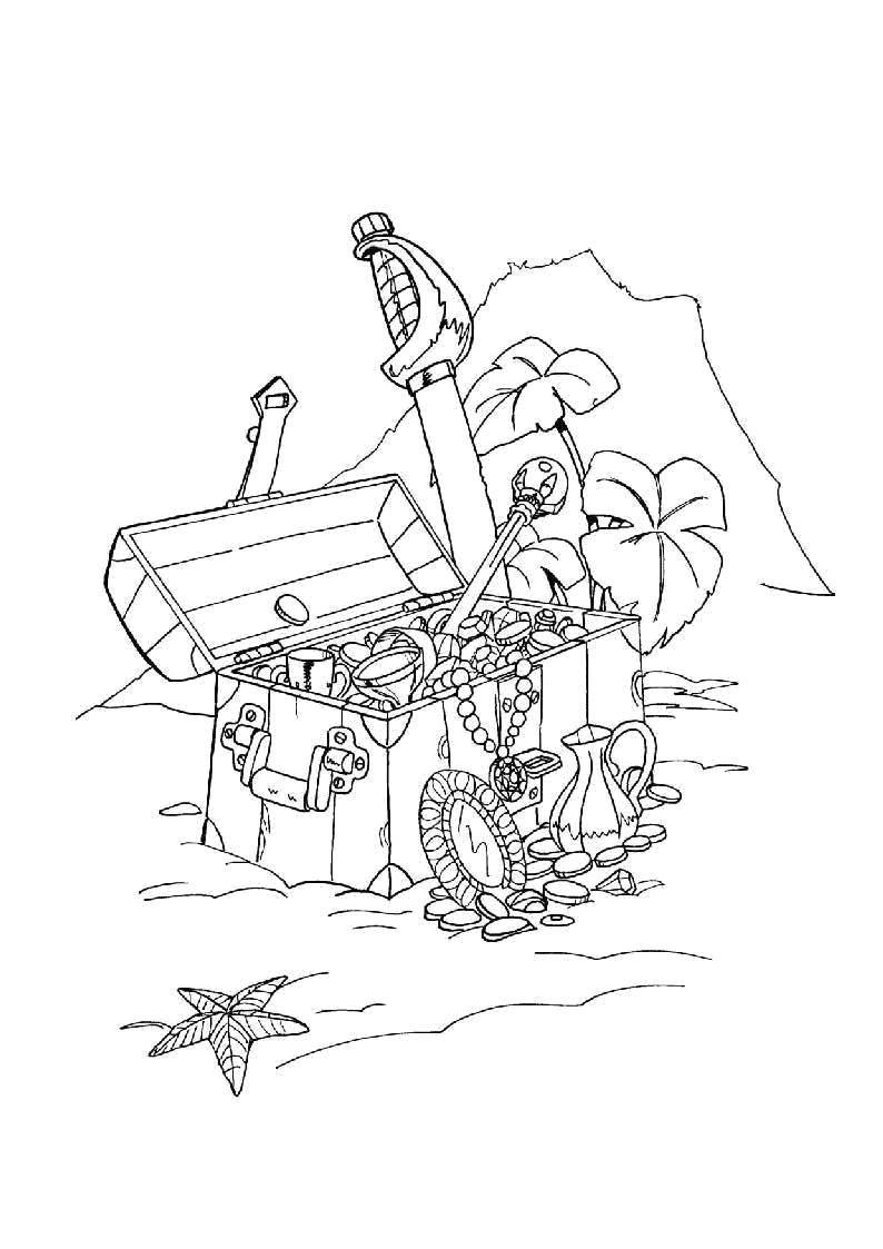 Раскраска Сокровища пиратов Скачать Пират, остров, сокровища.  Распечатать ,Пираты,