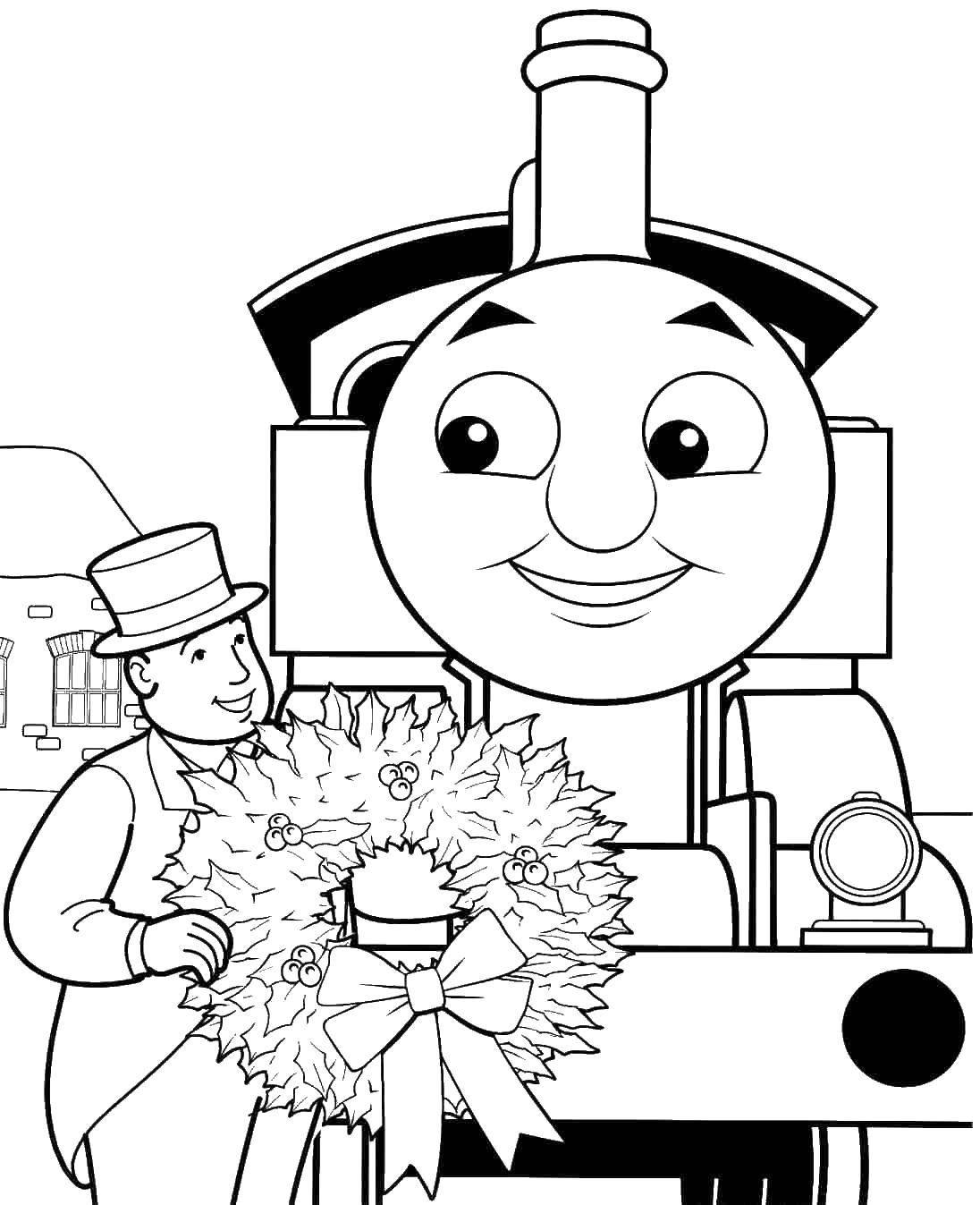 Раскраска Паровозик томас получает награду Скачать паровоз, Томас.  Распечатать ,мультики,