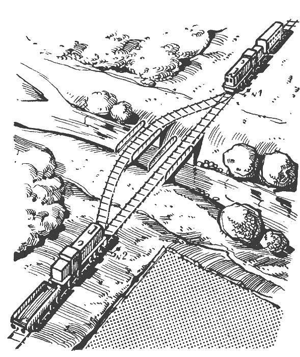 Раскраска Поезда едут через мост Скачать поезд, мост.  Распечатать ,поезд,