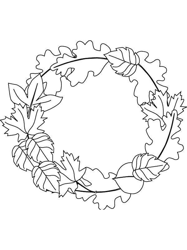 Раскраска Лиственный венок Скачать Листья, венок.  Распечатать ,листья,
