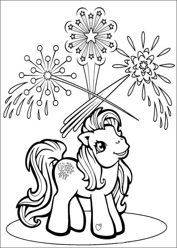 """Раскраска Пони из my little pony смотрит на салюты Скачать Пони, """"My little pony"""".  Распечатать ,Персонаж из мультфильма,"""