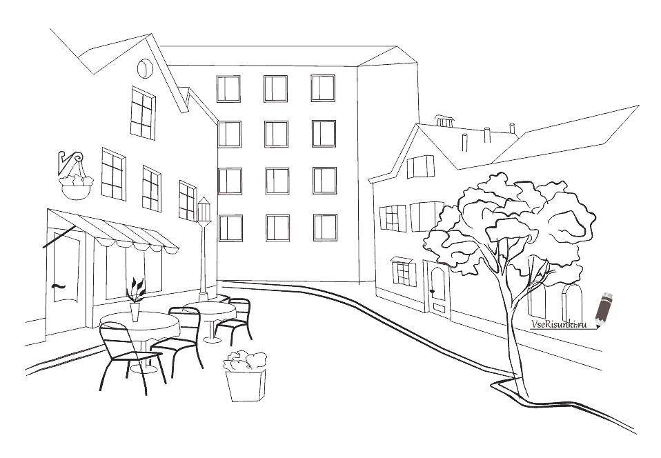 Раскраска Тихая улочка города Скачать Город, улица, кафе.  Распечатать ,город,