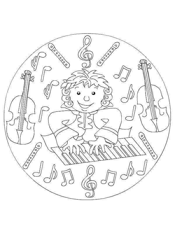 Раскраска Музыкант с музыкальными инструментами Скачать музыкант, музыка.  Распечатать ,музыкальные инструменты,