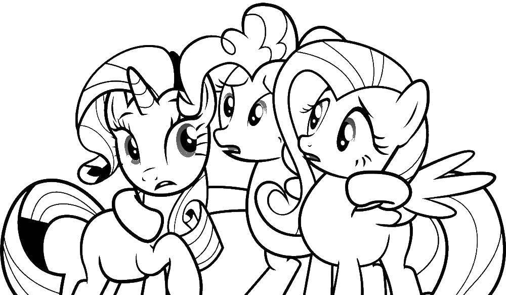 """Раскраска Поняшки из my little pony Скачать Пони, """"My little pony"""".  Распечатать ,мой маленький пони,"""