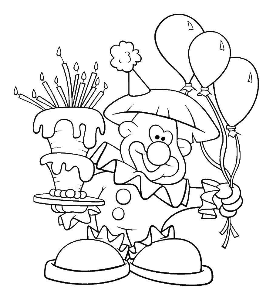 Раскраска Клоун с шариками  и с тортом Скачать клоун, шарики, торт.  Распечатать ,Клоуны,