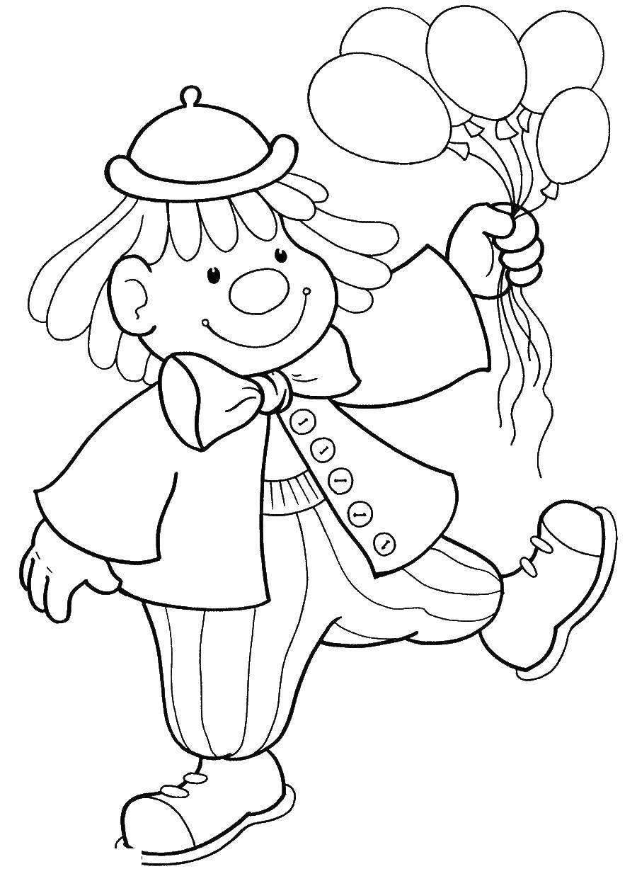 Раскраска Клоун с шариками Скачать клоун, шарики.  Распечатать ,Клоуны,