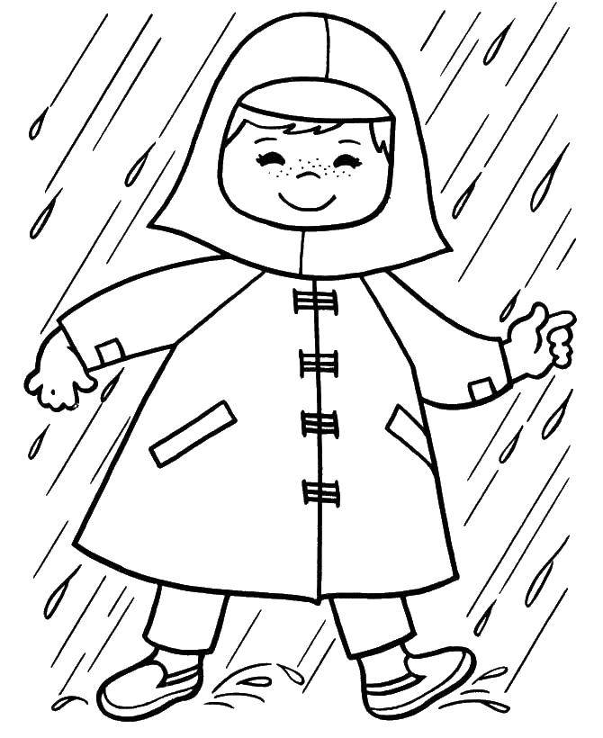 Название: Раскраска Человек в плаще. Категория: дождь. Теги: человек, плащь.