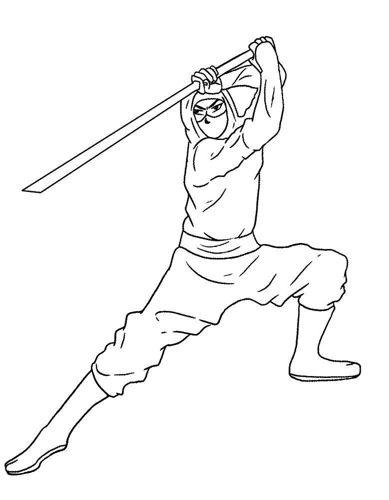 Раскраска Ниндзя с мечом Скачать ниндзя, меч, .  Распечатать ,оружие,