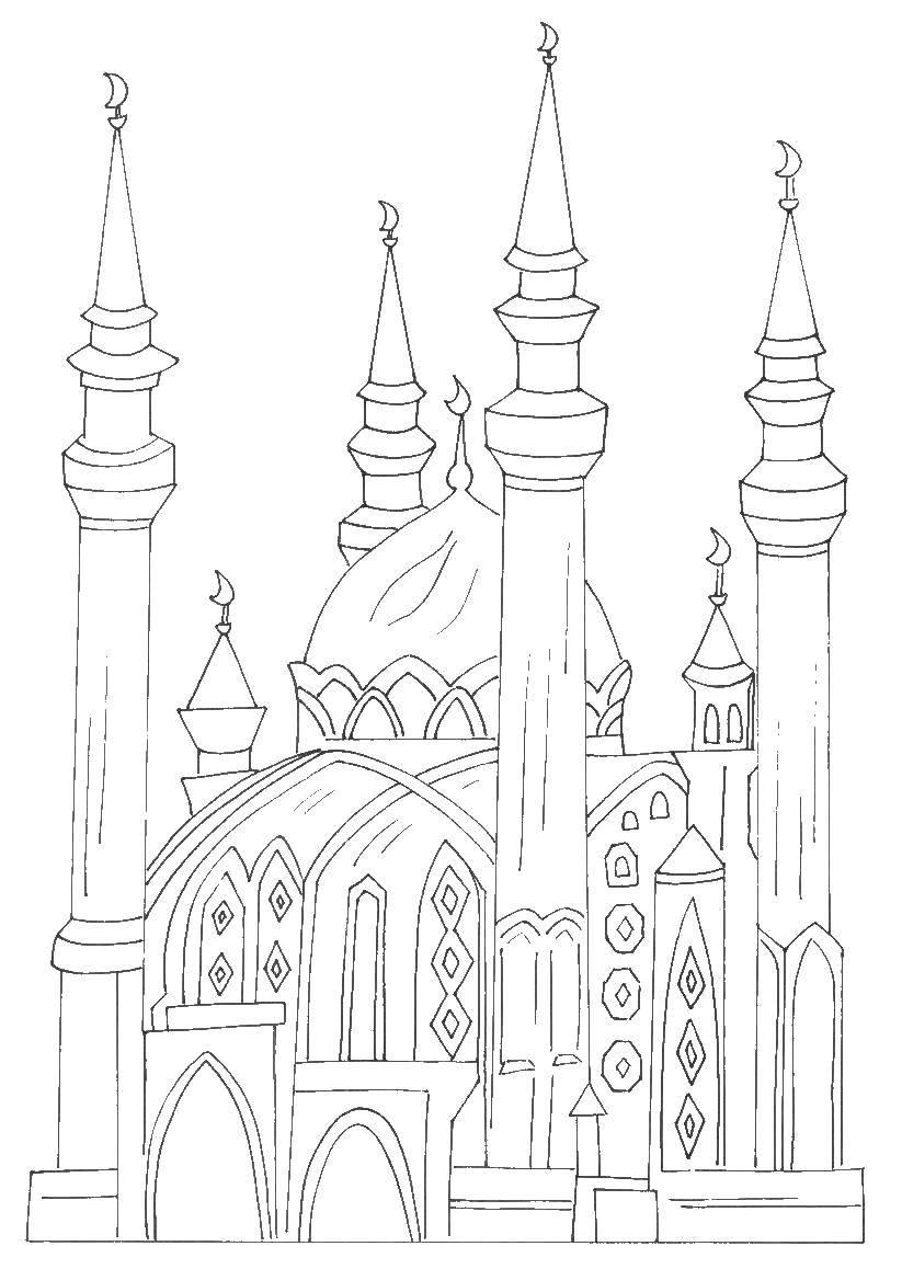 Раскраска Арабский замок Скачать Замок.  Распечатать ,замки,
