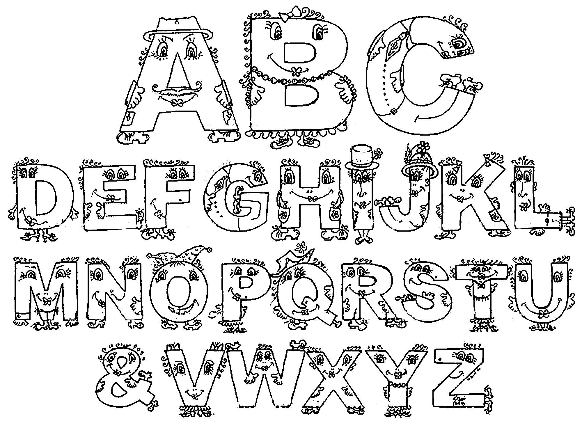 Раскраска Английский алфавит Скачать ,Алфавит, буквы,.  Распечатать