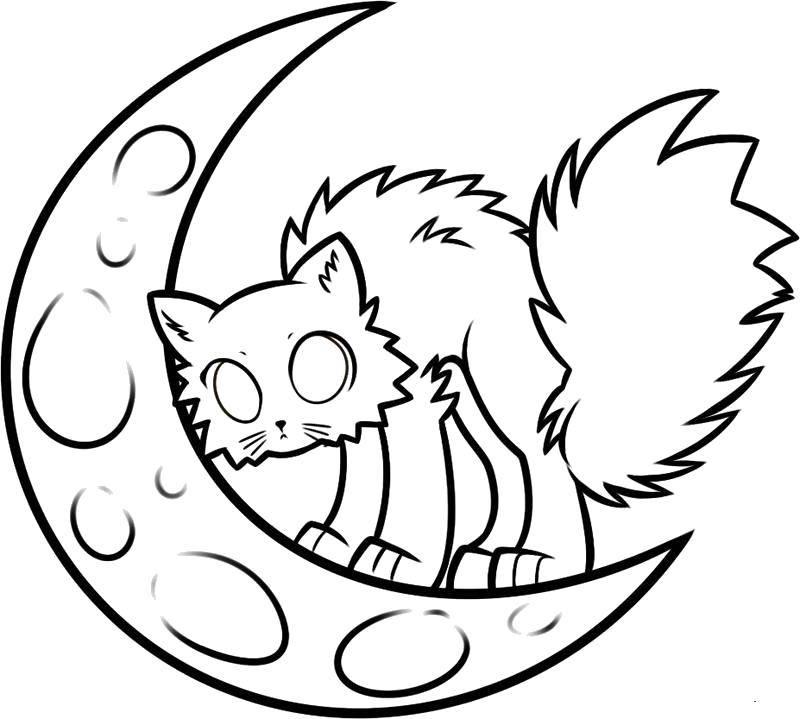 Раскраска Чёрный кот на полумесяце Скачать Хэллоуин, кот, месяц.  Распечатать ,Хэллоуин,